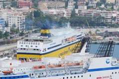 Port of Nice, passenger ship, water transportation, ship, ferry. Port of Nice is passenger ship, ferry and cruise ship. That marvel has water transportation royalty free stock image