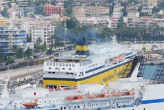 Port of Nice, passenger ship, water transportation, ship, watercraft. Port of Nice is passenger ship, watercraft and cruise ship. That marvel has water stock photography
