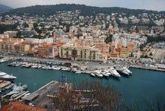 Port of Nice, Promenade des Anglais, marina, city, harbor, port. Port of Nice, Promenade des Anglais is marina, port and sea. That marvel has city, urban area royalty free stock photography