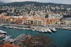 Port of Nice, Promenade des Anglais, marina, city, harbor, port. Port of Nice, Promenade des Anglais is marina, port and sky. That marvel has city, urban area stock images