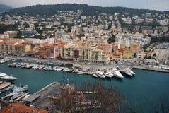 Port of Nice, Promenade des Anglais, marina, city, harbor, urban area. Port of Nice, Promenade des Anglais is marina, urban area and sea. That marvel has city stock image