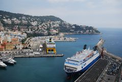 Port of Nice, Promenade des Anglais, passenger ship, water transportation, sea, ferry. Port of Nice, Promenade des Anglais is passenger ship, ferry and port royalty free stock photography