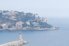 Port of Nice, Promenade des Anglais, sea, coast, coastal and oceanic landforms, headland. Port of Nice, Promenade des Anglais is sea, headland and cape. That stock image