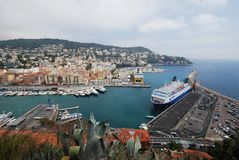 Port of Nice, Promenade des Anglais, sea, sky, harbor, port. Port of Nice, Promenade des Anglais is sea, port and coast. That marvel has sky, city and ship and royalty free stock photo