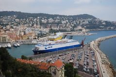Port of Nice, Promenade des Anglais, water transportation, passenger ship, waterway, ship. Port of Nice, Promenade des Anglais is water transportation, ship and stock image