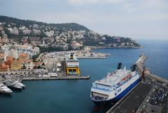 Port of Nice, Promenade des Anglais, water transportation, sea, passenger ship, ship. Port of Nice, Promenade des Anglais is water transportation, ship and stock photography