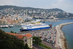 Port of Nice, Promenade des Anglais, waterway, passenger ship, water transportation, transport. Port of Nice, Promenade des Anglais is waterway, transport and stock photos