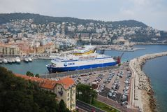 Port of Nice, Promenade des Anglais, waterway, water transportation, transport, passenger ship. Port of Nice, Promenade des Anglais is waterway, passenger ship stock photography