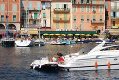 Port of Nice, waterway, boat, water transportation, boating. Port of Nice is waterway, boating and marina. That marvel has boat, watercraft and plant community stock photo