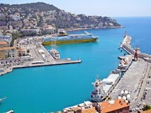 Cruise port of Nice. The port of Nice welcomes tourists royalty free stock images