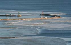 Port of Nida at wintertime, resort of Lithuania. Stock Images