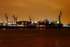 Port at night 2. Commercial port Hamburg at night royalty free stock images