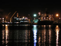 Port at night Royalty Free Stock Photos