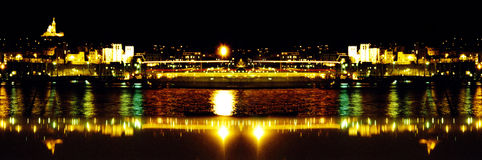 Port in the night. With lights effects - panoramic Stock Photo