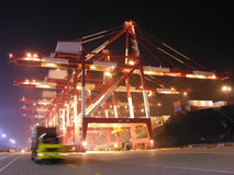 Port. Night in the busy Chinese port of Qingdao Royalty Free Stock Photo