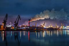 Port at night. Industry area - Port of Gdansk at night, Poland Royalty Free Stock Image