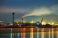 Port at night. Industry area - Port of Gdansk at night, Poland Stock Images