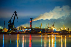 Port at night. Industry area - Port of Gdansk at night, Poland Royalty Free Stock Photo