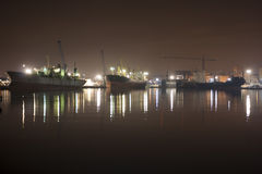 Port at night Royalty Free Stock Images