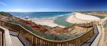 Port Noarlunga Beach Steps. A panorama of the steps leading down to the beautiful sandy beach and Onkaparinga river at Port Noarlunga. Adelaide, South Australia Royalty Free Stock Photos