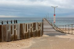 The Port Noarlunga foreshore and Jetty on the 23rd August 2018 i. N south Australia stock photography