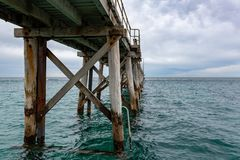 The Port Noarlunga Jetty with no people in South Australia on 23rd August 2018 stock images