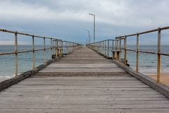 The Port Noarlunga Jetty with no people in South Australia on 23rd August 2018 royalty free stock image