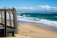 The Port Noarlunga lookout with beach selectively blurred in the. Background in South Australia on 6th September 2018 royalty free stock photo