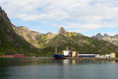 The port of Nyvoagar in Lofoten. The port of Nyvoagar, Lofoten islands, Norwegian arctic sea royalty free stock photo