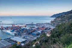 Port occupé de Salerno, Italie Image libre de droits