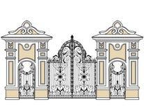 Port och grindar vektor illustrationer