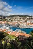 Port och stad av Nice i Frankrike Arkivbilder