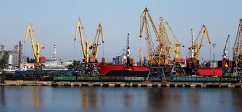 Port Odesa. In the port of Odessa on the dock. Cranes and other machinery Royalty Free Stock Images