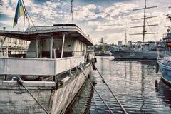 Port of Odessa. Boat boats ice marina odessa of parking port sea snow winter Stock Photography