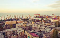 Port of Odessa at day. Port of Odessa at sunset Royalty Free Stock Photos