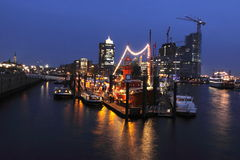Port Of Hamburg In Night Royalty Free Stock Images