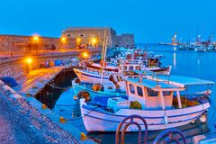 Free Port Of Heraklion With Old Fishing Boats Royalty Free Stock Photo - 116946725