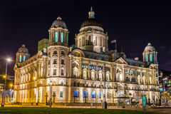 Free Port Of Liverpool Building At Night Royalty Free Stock Image - 55828606