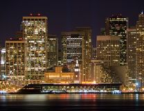 Free Port Of San Francisco & Financial District At Night Stock Photo - 1892350