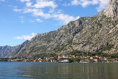 Port and old town Kotor landscape Stock Images