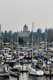 Port olimpia Waszyngton podczas zimnego spadku dnia Fotografia Stock