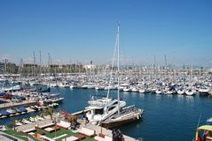 Port Olimpic in Barcelona royalty free stock photography