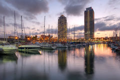 Port Olimpic, Barcelona, Spanien Royaltyfria Foton