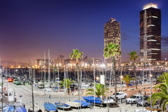 Port Olimpic Marina at Night in Barcelona Royalty Free Stock Image