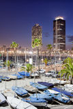 Port Olimpic Marina at Night in Barcelona Stock Photos