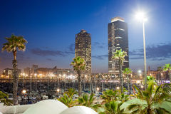 Port Olimpic Marina at Night in Barcelona Stock Photography