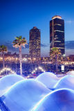 Port Olimpic at Night in Barcelona Royalty Free Stock Photos