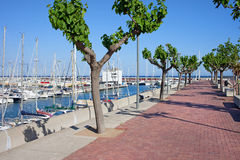 Port Olimpic Promenade in Barcelona Royalty Free Stock Image