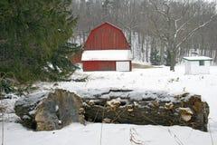 Port Oneida Barn. Historic barn - Winter - Sleeping Bear Dunes National Lake Shore, Michigan, USA Royalty Free Stock Photo