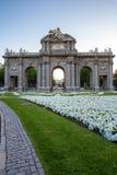 Port på självständighetfyrkanten Madrid Spanien Royaltyfri Fotografi